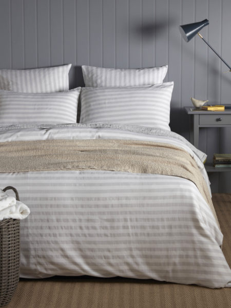 Coastal Stripe Pebble Grey Duvet Cover