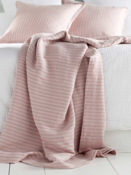 Blush Pink Herringbone Cushion Cover and Bed Throw