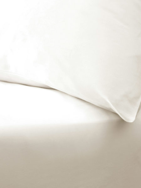 Cream Cotton Percale 200 Thread Count Fitted Sheet