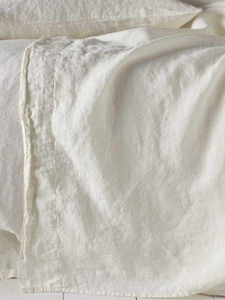 Cream 100% Linen Flat Sheet