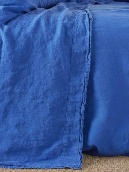 Dazzling Blue 100% Linen Flat Sheet