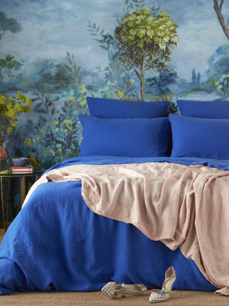 Dazzling Blue 100% Linen Duvet Cover