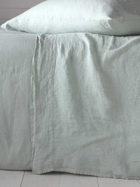 Duck Egg 100% Linen Flat Sheet