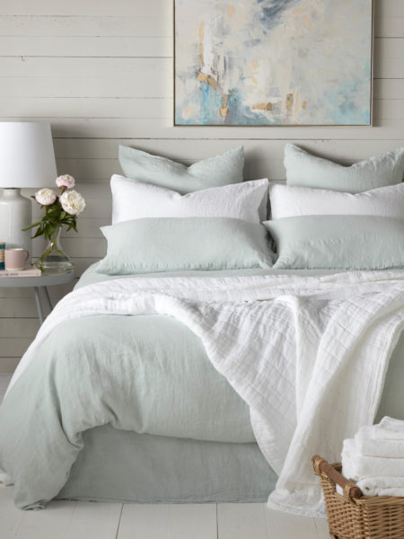Duck Egg 100% Linen Duvet Cover