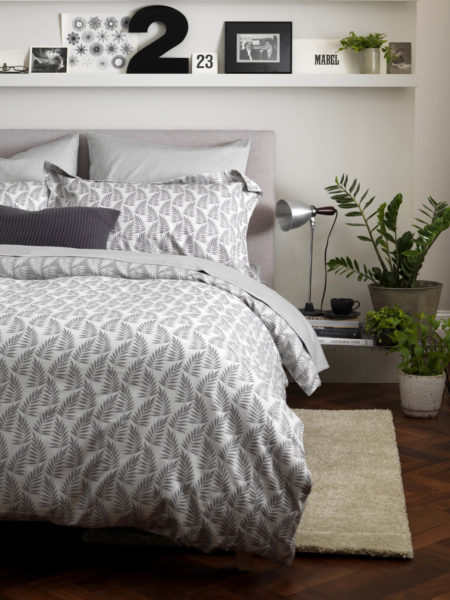 Ferns Graphite Grey Bed Linen