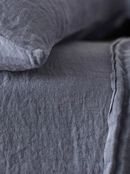 French Blue 100% Linen Fitted Sheet