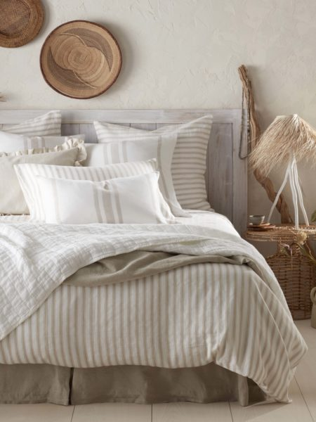 French Ticking Stripe Natural Bed Linen