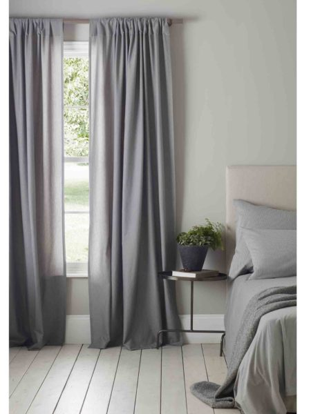 Relaxed Denim Graphite Grey Loop Top Curtains (Pair)