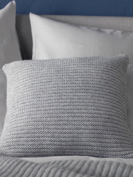 Knitted Wool Grey Marl Cushion and Throw
