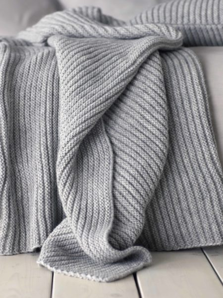 Knitted Wool Grey Marl Bed Throw