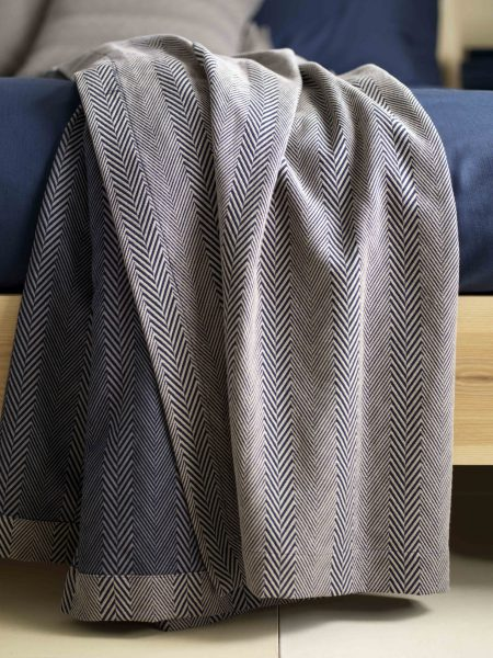 Herringbone Midnight Blue Bed Throw