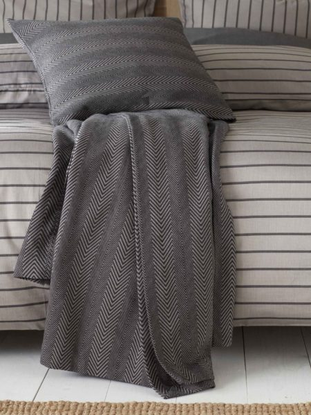 Herringbone Pewter Grey Cushion Cover and Bed Throw
