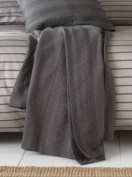 Herringbone Pewter Grey Bed Throw