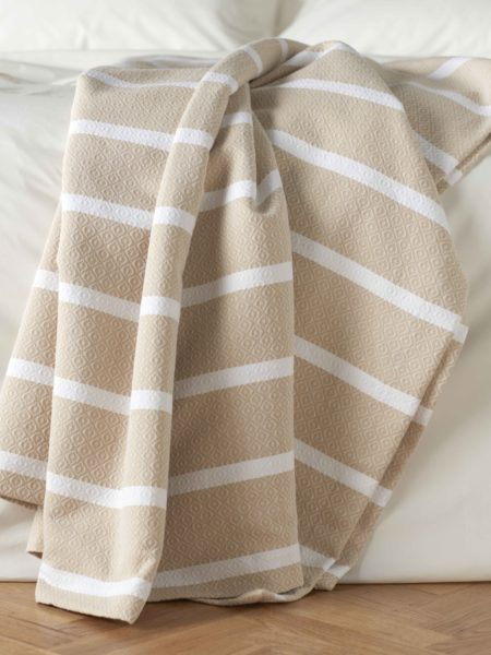 Yellow Stripe Bed Throw