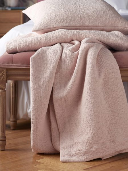 Laundered Blush Pink Cushion Cover and Bed Throw