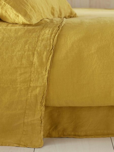 Mustard Yellow 100% Linen Flat Sheet
