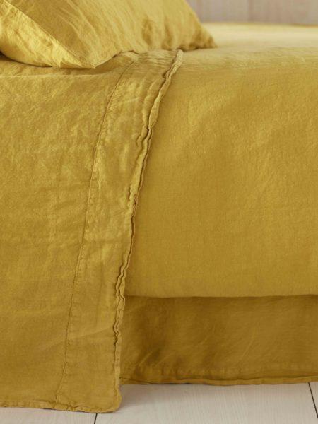 Mustard Yellow 100% Linen Flat Sheet