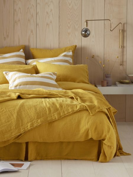 Mustard Yellow 100% Linen Duvet Cover
