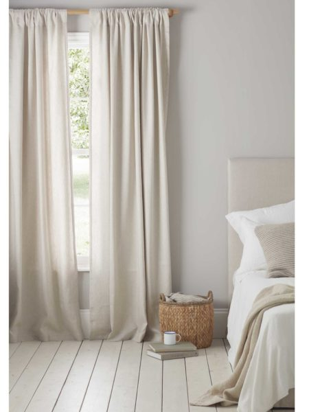 Relaxed Denim Natural Linen Loop Top Curtains (Pair)
