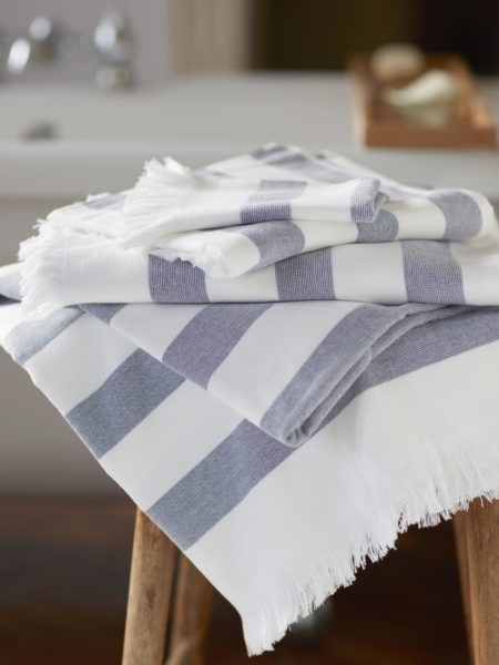 Navy Stripe Towels