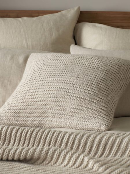 Knitted Wool Oatmeal Cushion