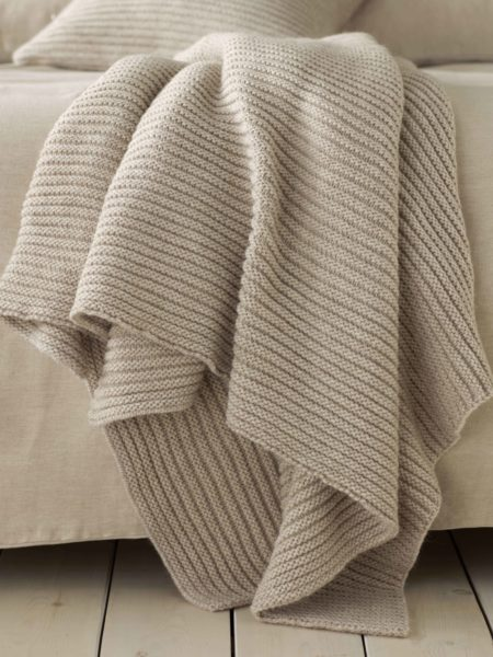 Knitted Wool Oatmeal Throw