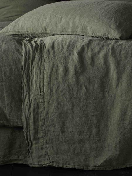 Olive Green 100% Linen Flat Sheet