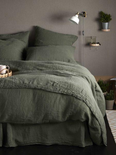 Olive Green 100% Linen Bed Linen