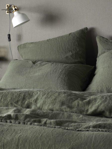 Olive Green 100% Linen Pillowcase