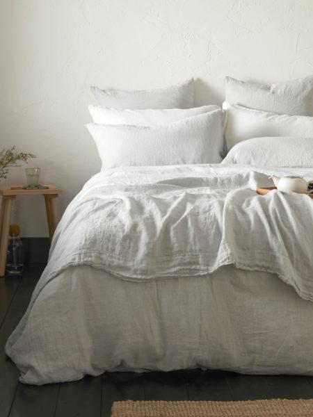 Pebble Grey 100% Linen Bed Linen