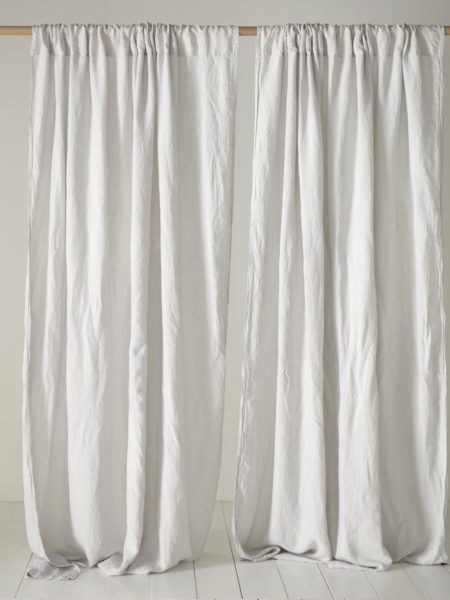 Pebble Grey 100% Linen Loop Top Curtain (Single)