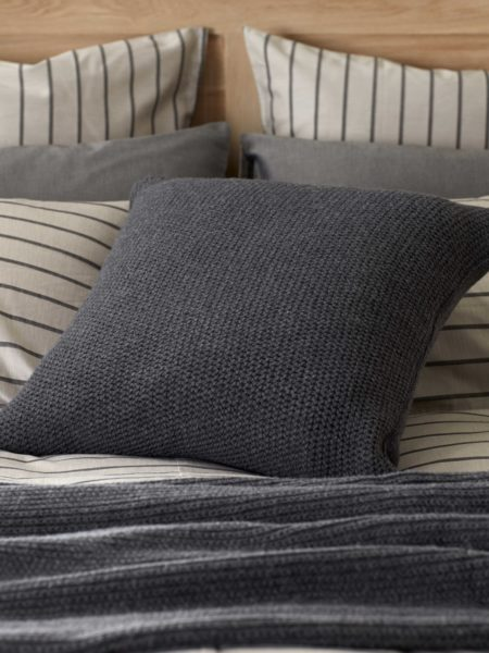 Knitted Wool Pewter Grey Cushion Cover