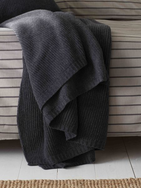 Knitted Wool Pewter Grey Bed Throw