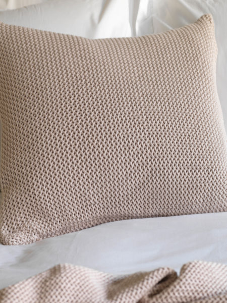 Pink Knitted Cushion Cover