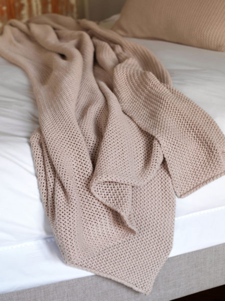 Pink Knitted Bed Throw