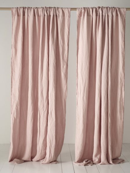 Blush Pink 100% Linen Loop Top Curtain (Single)