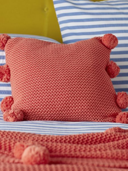 Pom Pom Knitted Hot Coral Cushion