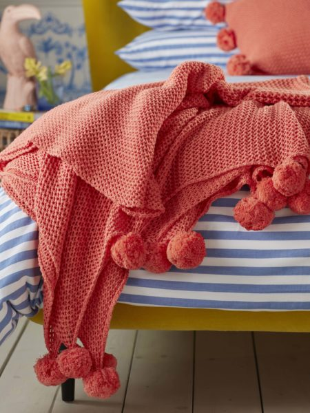 Pom Pom Knitted Hot Coral Bed Throw