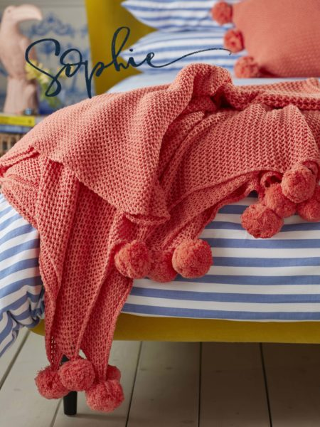 Pom Pom Knitted Hot Coral Cushion Cover and Bed Throw