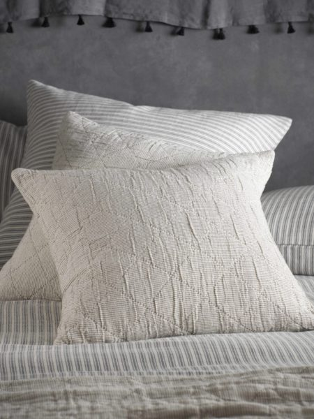 Black and Natural Stripe Cushion Cover