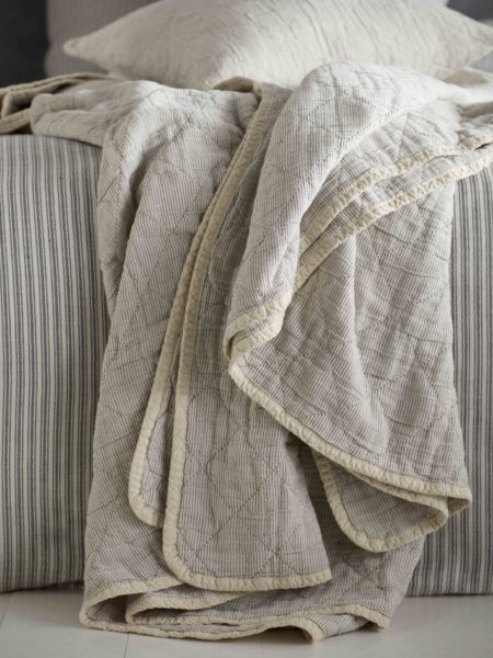 Black and Natural Stripe Cushion Cover and Bed Throw