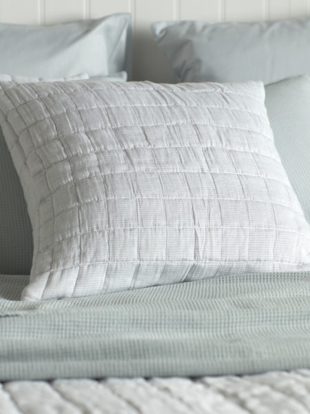 Quilted Grey & White Stripe Cushion Cover