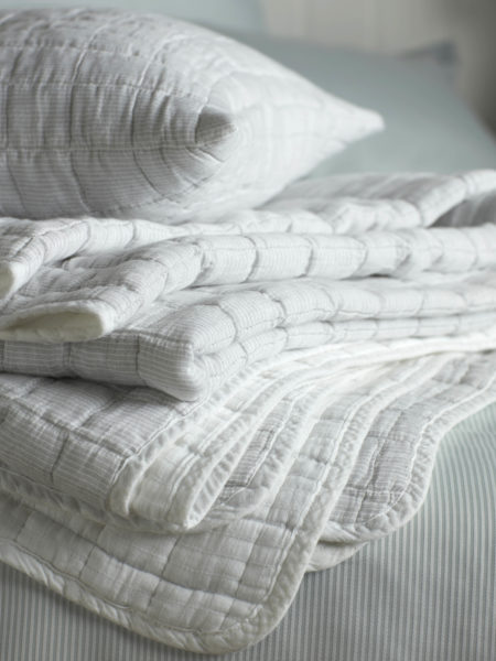 Quilted Grey & White Stripe Bedspread and Cushion