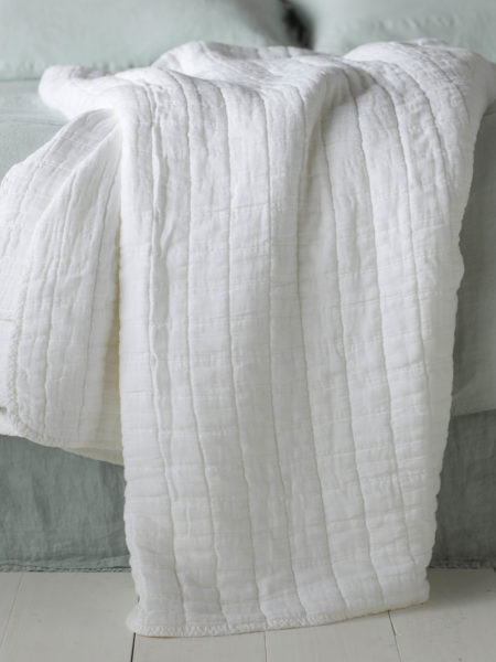 Quilted White Throw