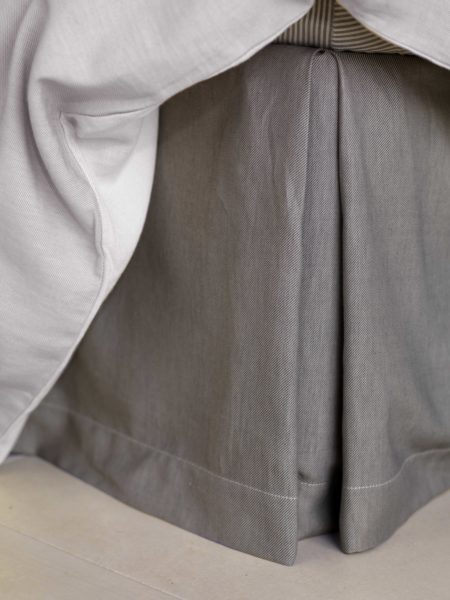 Relaxed Denim Graphite Grey Box Pleat Valance