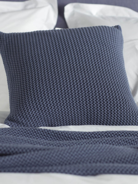 Knitted Blue Cushion Cover
