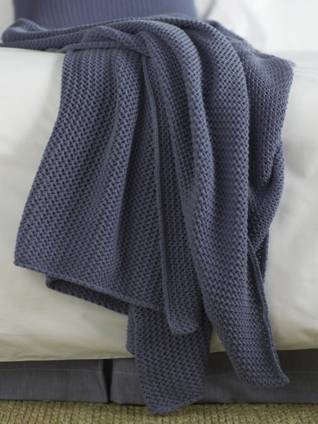 Knitted Blue Cushion Cover and Bed Throw