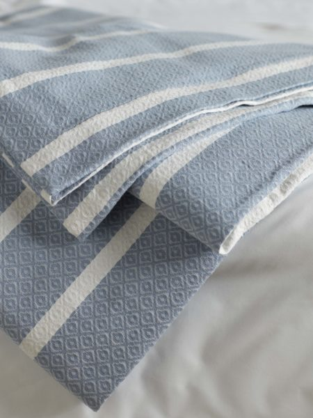 Blue Stripe Bed Throw