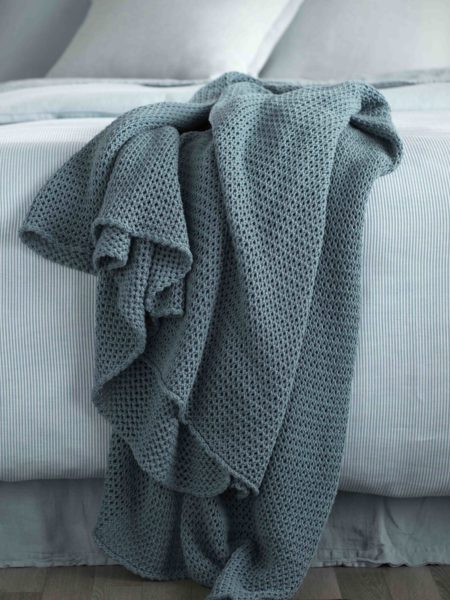 Knitted Teal Cushion Cover and Bed Throw