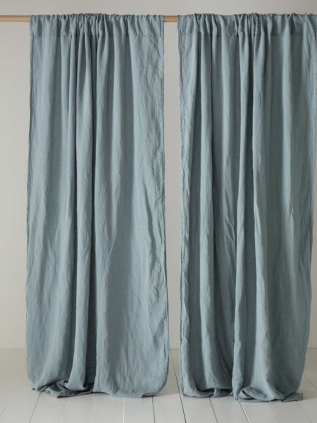 Teal 100% Linen Loop Top Curtain (Single)